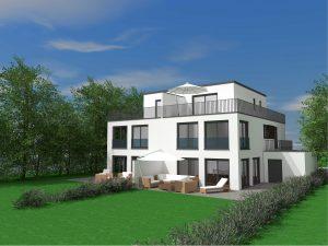 Visualisierung Gartenseite Doppelhaushälfte